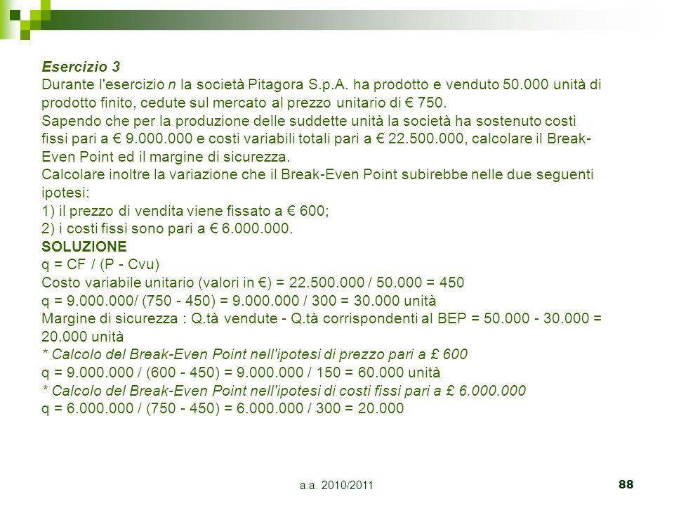 a.a. 2010/201188 Esercizio 3 Durante l'esercizio n la società Pitagora S.p.A. ha prodotto e venduto 50.000 unità di prodotto finito, cedute sul mercat