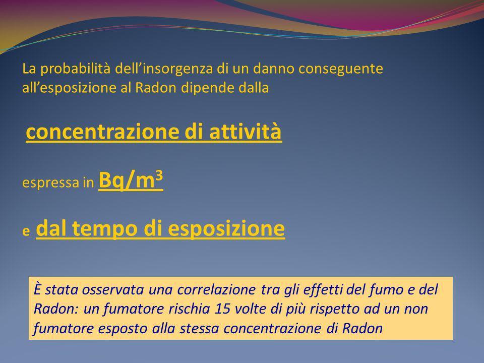 La probabilità dellinsorgenza di un danno conseguente allesposizione al Radon dipende dalla concentrazione di attività espressa in Bq/m 3 e dal tempo
