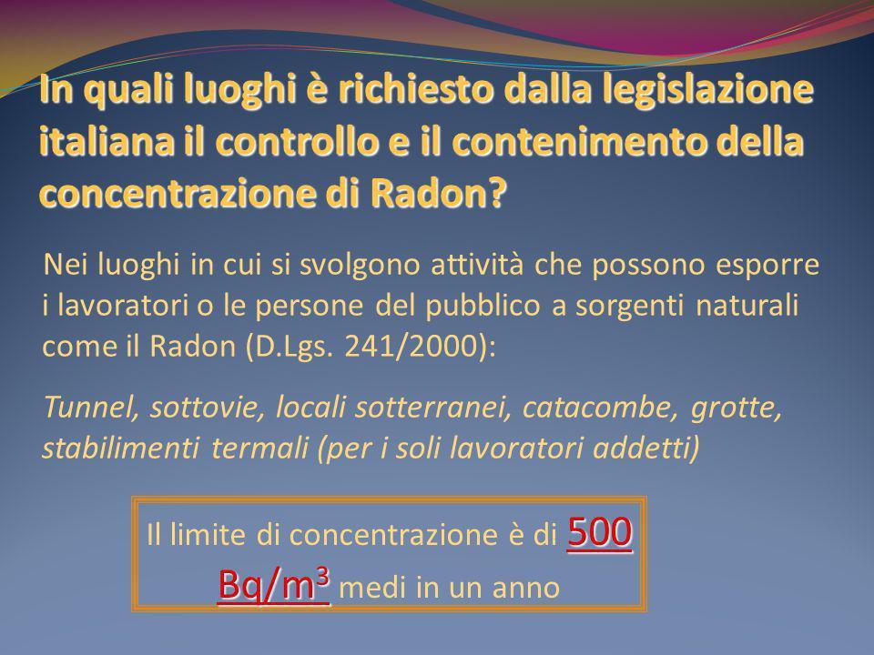 In quali luoghi è richiesto dalla legislazione italiana il controllo e il contenimento della concentrazione di Radon? Nei luoghi in cui si svolgono at