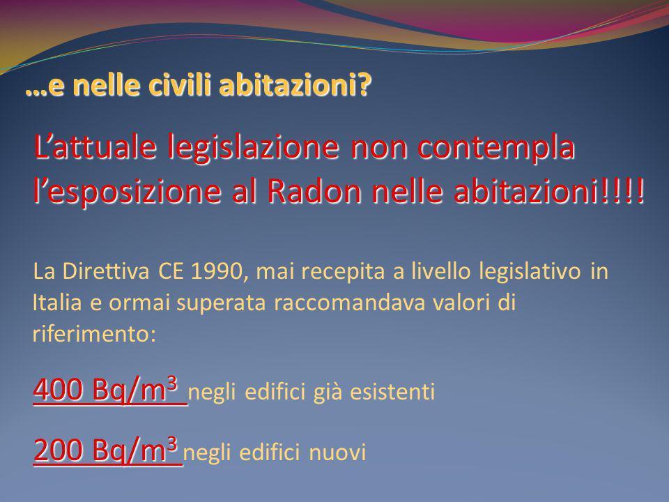 …e nelle civili abitazioni? Lattuale legislazione non contempla lesposizione al Radon nelle abitazioni!!!! La Direttiva CE 1990, mai recepita a livell