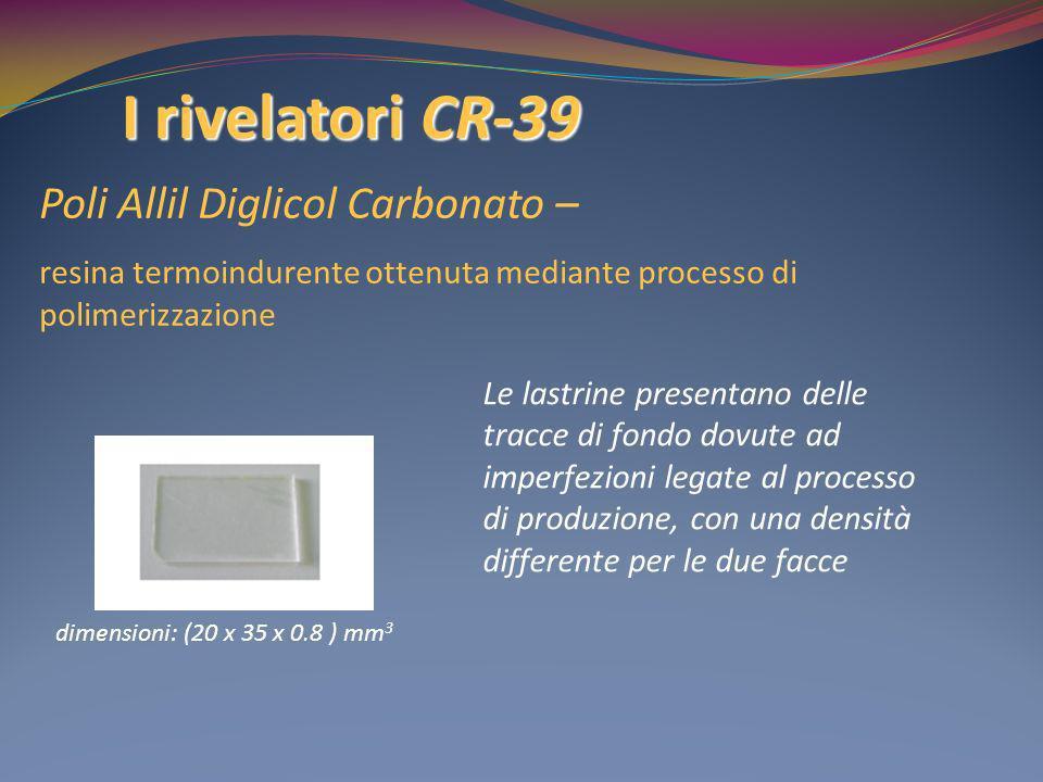 I rivelatori CR-39 Poli Allil Diglicol Carbonato – resina termoindurente ottenuta mediante processo di polimerizzazione dimensioni: (20 x 35 x 0.8 ) m