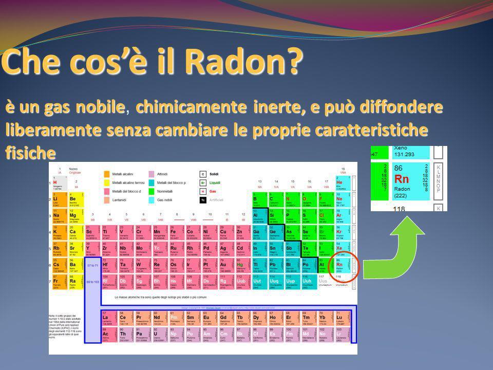 Che cosè il Radon? è un gasnobilechimicamenteinerte, e può diffondere liberamente senza cambiare le proprie caratteristiche fisiche è un gas nobile, c