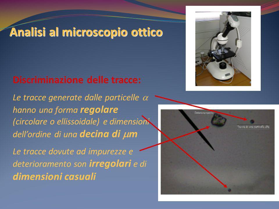 Analisi al microscopio ottico Discriminazione delle tracce: Le tracce generate dalle particelle hanno una forma regolare (circolare o ellissoidale) e