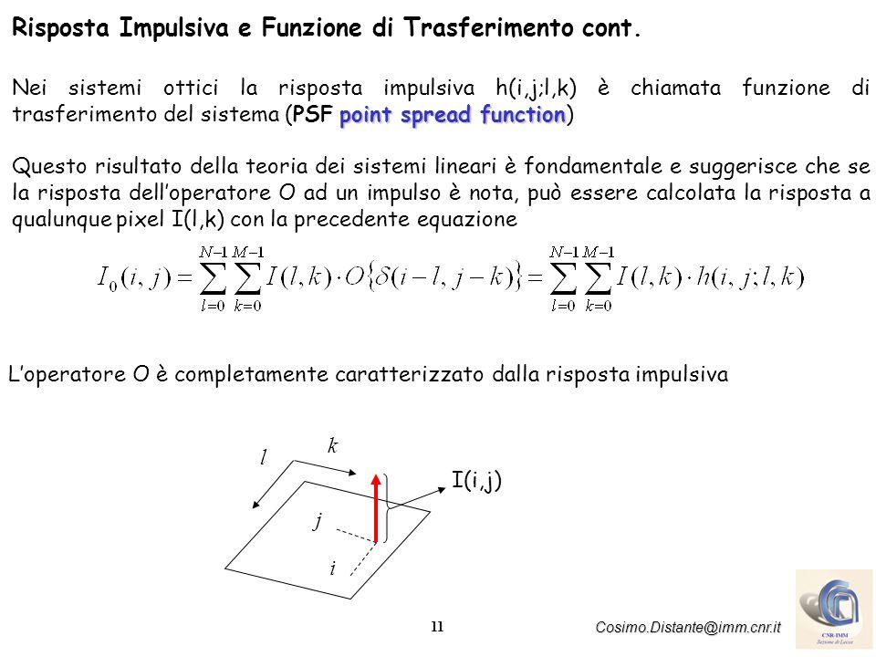 11 Cosimo.Distante@imm.cnr.it Risposta Impulsiva e Funzione di Trasferimento cont. point spread function Nei sistemi ottici la risposta impulsiva h(i,