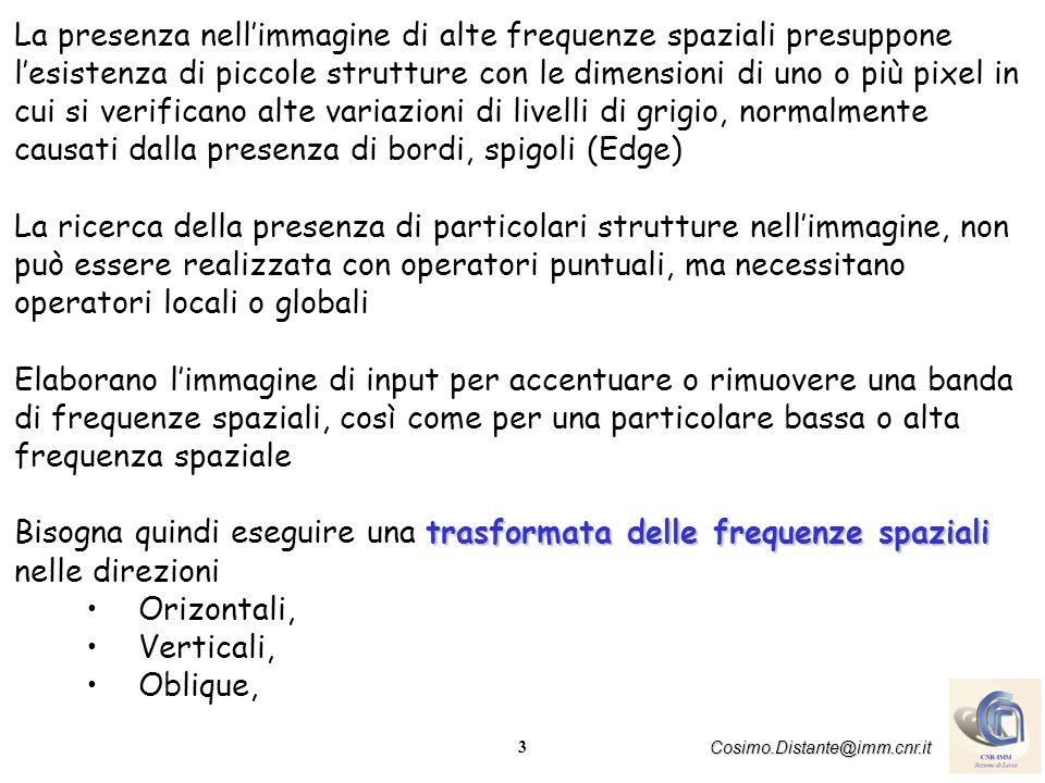 3 Cosimo.Distante@imm.cnr.it La presenza nellimmagine di alte frequenze spaziali presuppone lesistenza di piccole strutture con le dimensioni di uno o