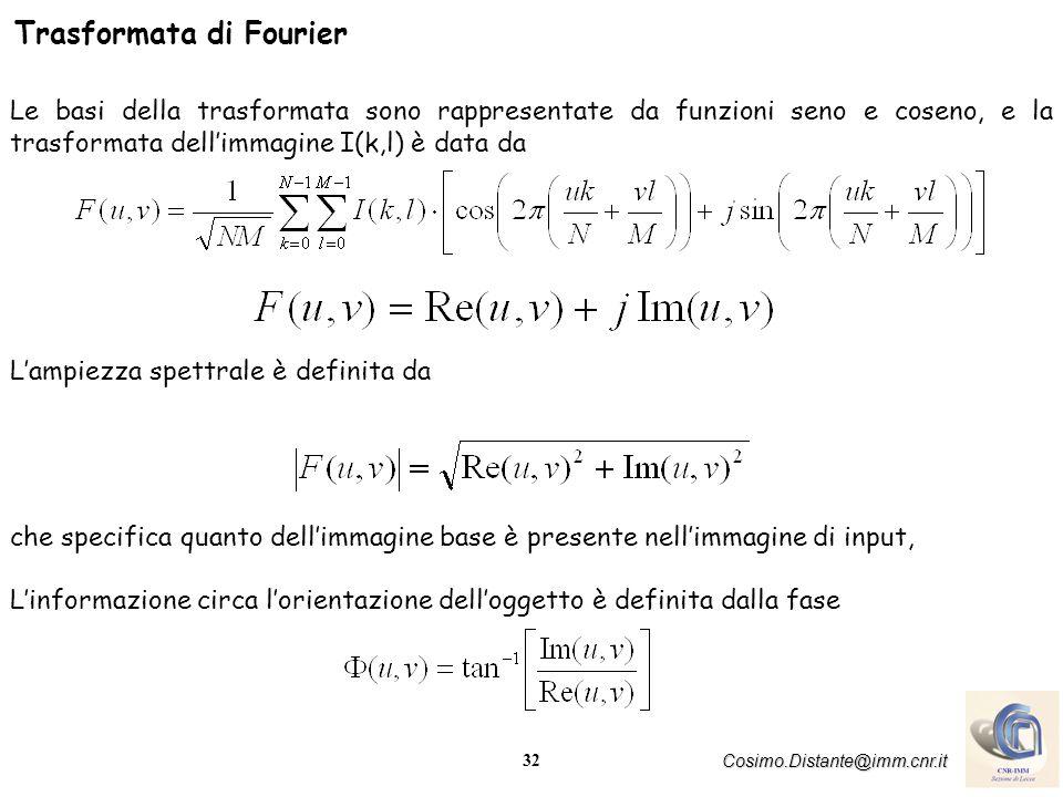32 Cosimo.Distante@imm.cnr.it Trasformata di Fourier Le basi della trasformata sono rappresentate da funzioni seno e coseno, e la trasformata dellimma