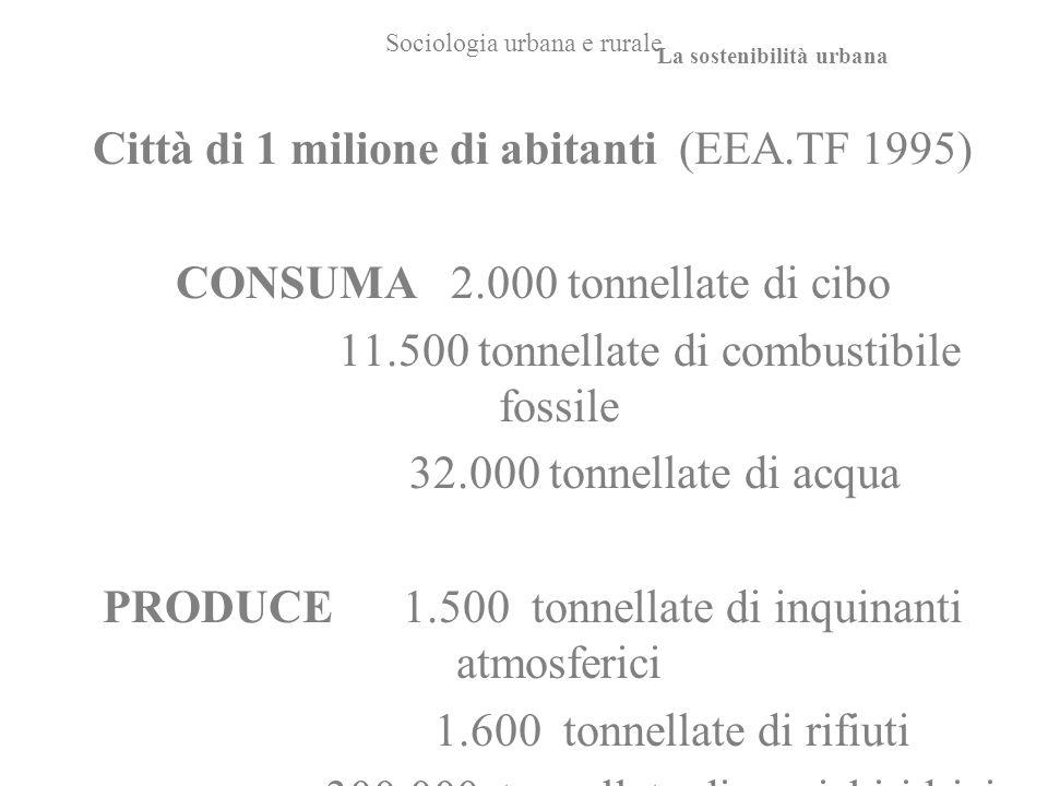 Sociologia urbana e rurale Città di 1 milione di abitanti (EEA.TF 1995) CONSUMA 2.000 tonnellate di cibo 11.500 tonnellate di combustibile fossile 32.