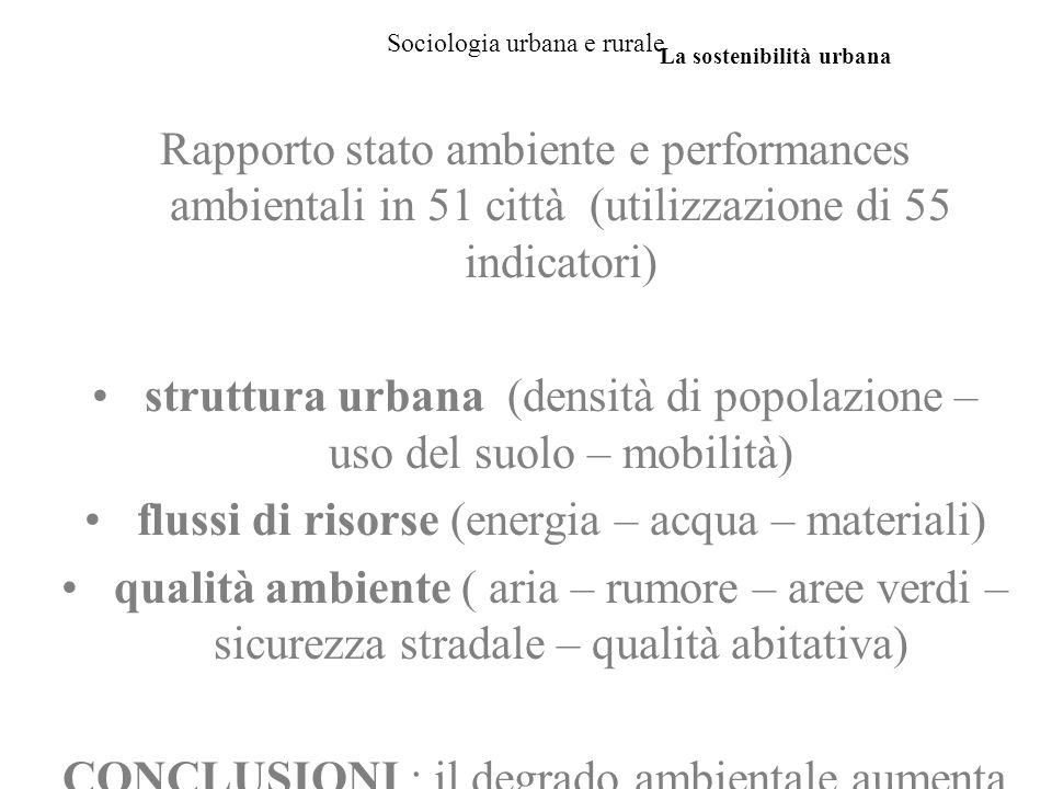 Sociologia urbana e rurale Rapporto stato ambiente e performances ambientali in 51 città (utilizzazione di 55 indicatori) struttura urbana (densità di