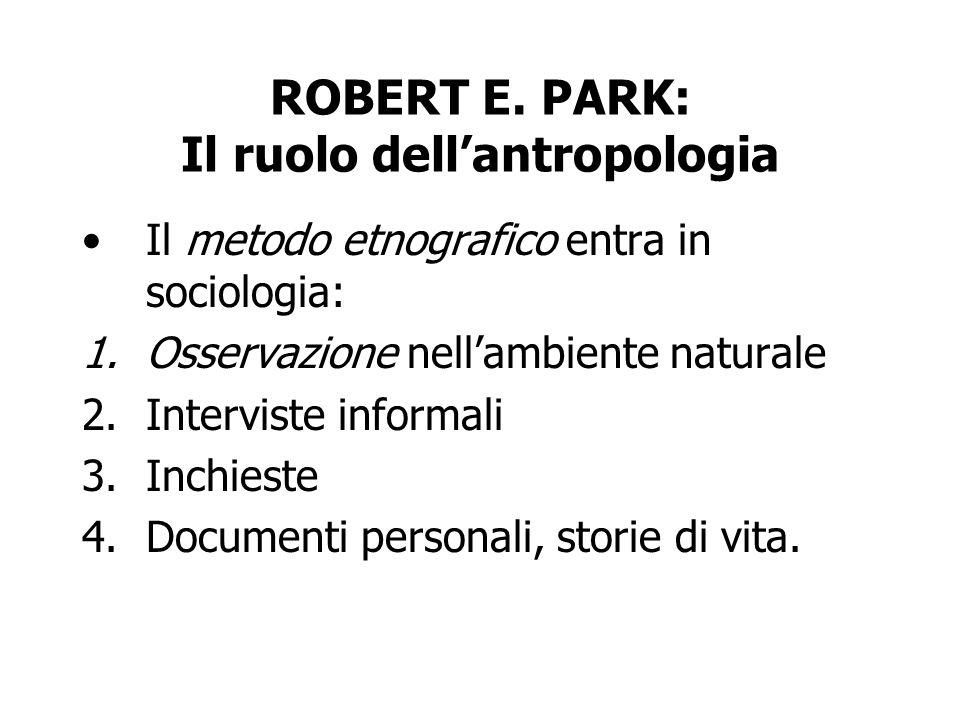 ROBERT E. PARK: Il ruolo dellantropologia Il metodo etnografico entra in sociologia: 1.Osservazione nellambiente naturale 2.Interviste informali 3.Inc