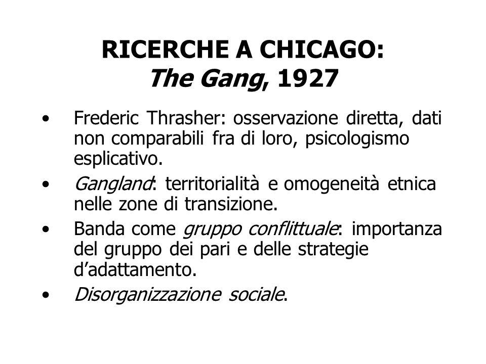 RICERCHE A CHICAGO: The Gang, 1927 Frederic Thrasher: osservazione diretta, dati non comparabili fra di loro, psicologismo esplicativo. Gangland: terr