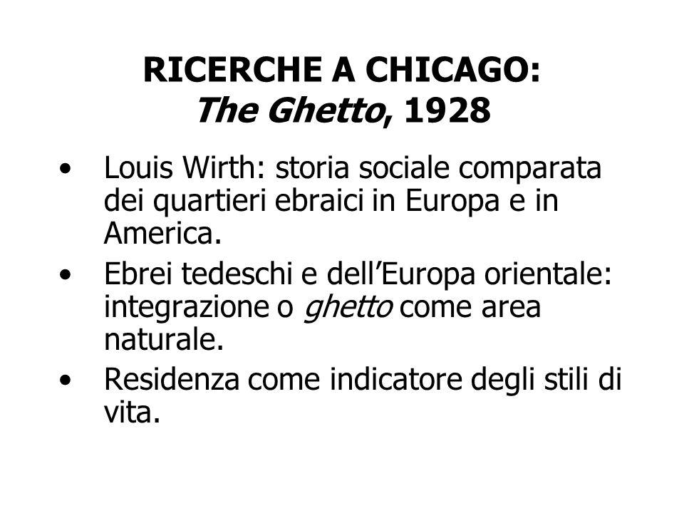 RICERCHE A CHICAGO: The Ghetto, 1928 Louis Wirth: storia sociale comparata dei quartieri ebraici in Europa e in America. Ebrei tedeschi e dellEuropa o
