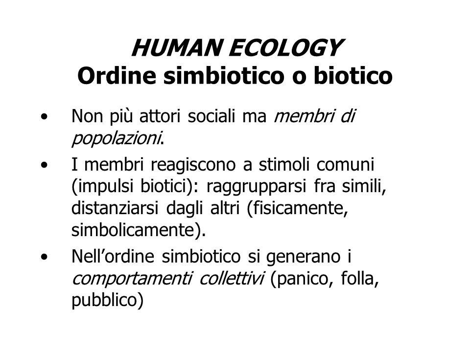 HUMAN ECOLOGY Ordine simbiotico o biotico Non più attori sociali ma membri di popolazioni. I membri reagiscono a stimoli comuni (impulsi biotici): rag