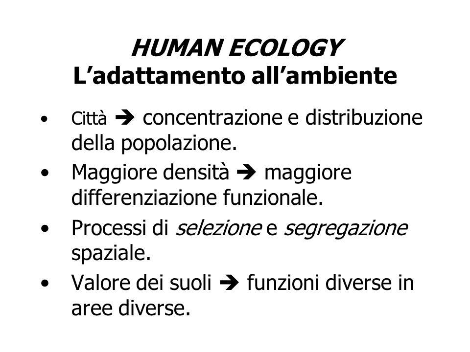 HUMAN ECOLOGY Ladattamento allambiente Città concentrazione e distribuzione della popolazione. Maggiore densità maggiore differenziazione funzionale.
