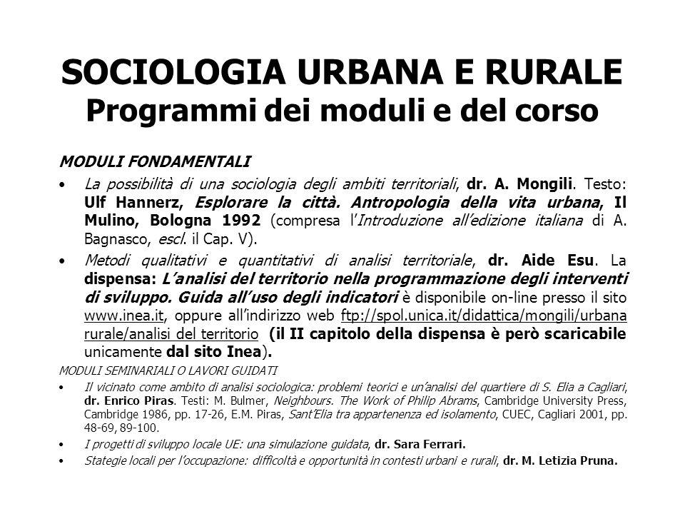 SOCIOLOGIA URBANA E RURALE Programmi dei moduli e del corso MODULI FONDAMENTALI La possibilità di una sociologia degli ambiti territoriali, dr. A. Mon