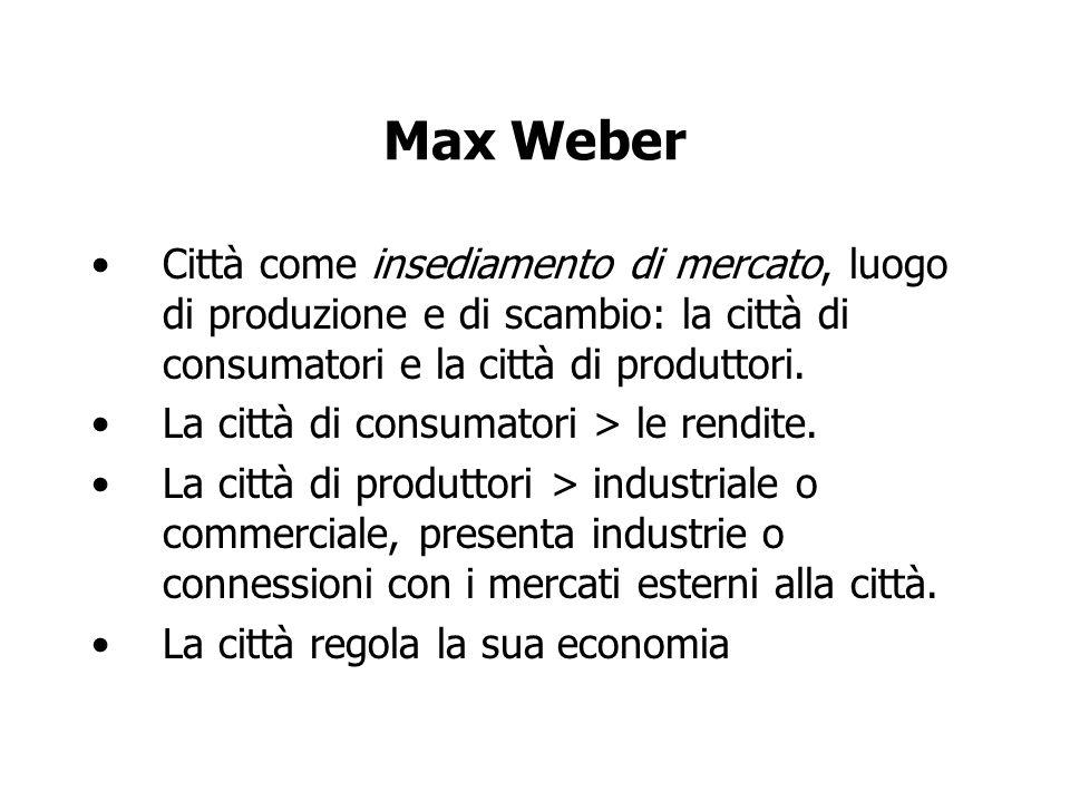 Max Weber Città come insediamento di mercato, luogo di produzione e di scambio: la città di consumatori e la città di produttori. La città di consumat