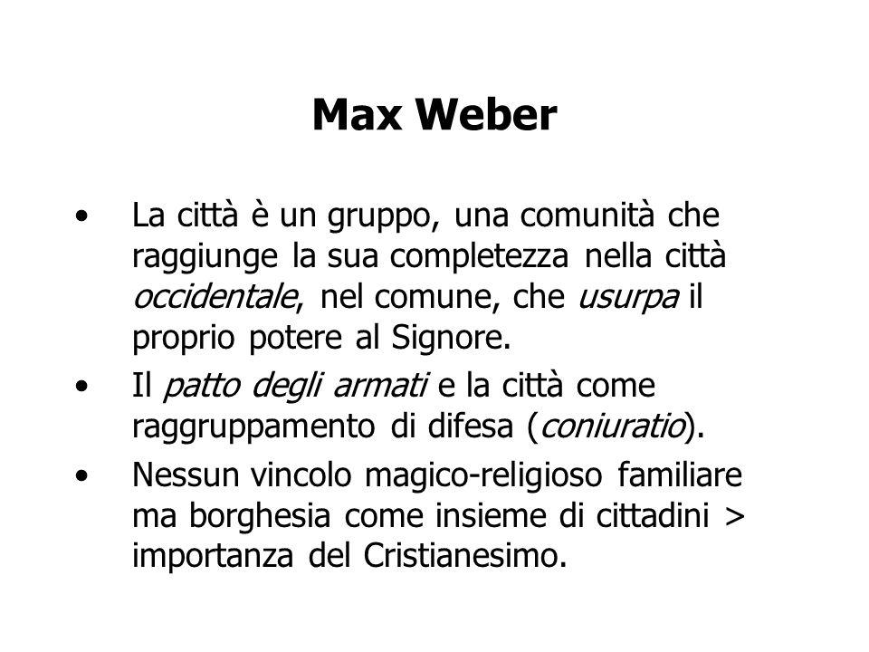 Max Weber La città è un gruppo, una comunità che raggiunge la sua completezza nella città occidentale, nel comune, che usurpa il proprio potere al Sig