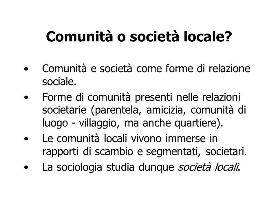 Comunità o società locale? Comunità e società come forme di relazione sociale. Forme di comunità presenti nelle relazioni societarie (parentela, amici