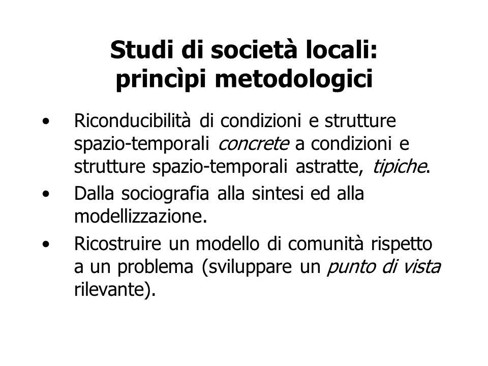 Studi di società locali: princìpi metodologici Riconducibilità di condizioni e strutture spazio-temporali concrete a condizioni e strutture spazio-tem