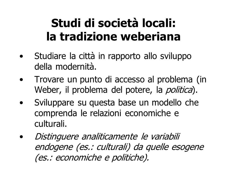 Studi di società locali: la tradizione weberiana Studiare la città in rapporto allo sviluppo della modernità. Trovare un punto di accesso al problema