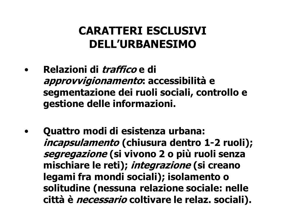 CARATTERI ESCLUSIVI DELLURBANESIMO Relazioni di traffico e di approvvigionamento: accessibilità e segmentazione dei ruoli sociali, controllo e gestion