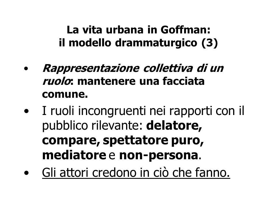 La vita urbana in Goffman: il modello drammaturgico (3) Rappresentazione collettiva di un ruolo: mantenere una facciata comune. I ruoli incongruenti n