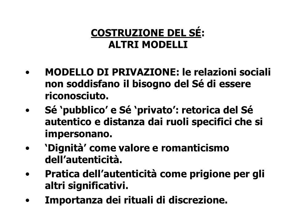 COSTRUZIONE DEL SÉ: ALTRI MODELLI MODELLO DI PRIVAZIONE: le relazioni sociali non soddisfano il bisogno del Sé di essere riconosciuto. Sé pubblico e S