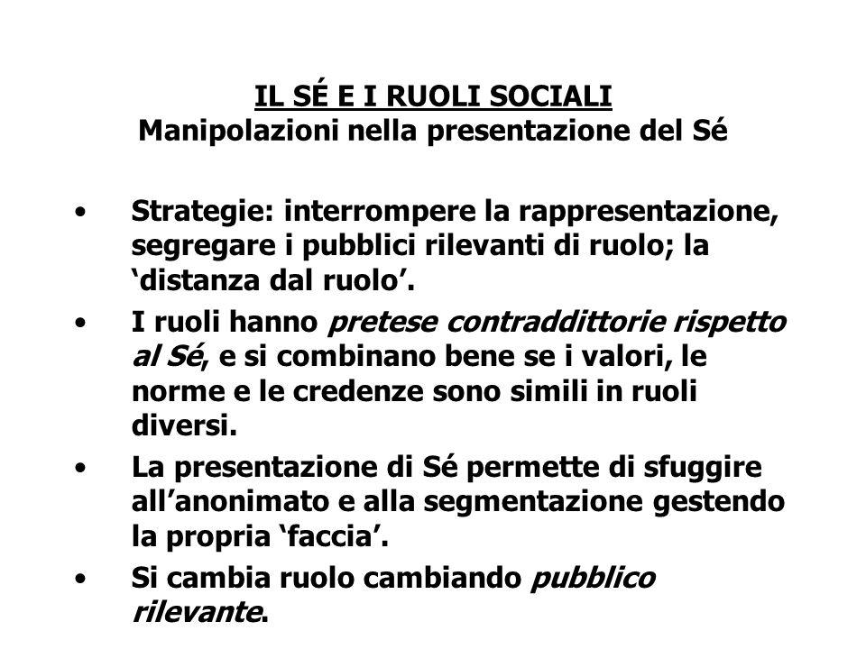 IL SÉ E I RUOLI SOCIALI Manipolazioni nella presentazione del Sé Strategie: interrompere la rappresentazione, segregare i pubblici rilevanti di ruolo;
