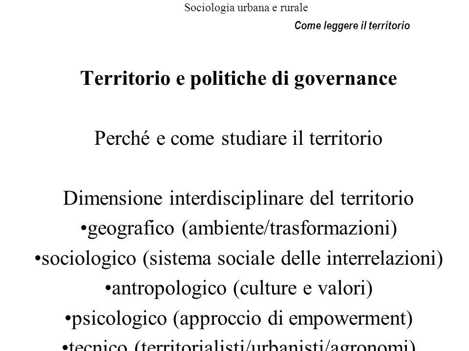 Sociologia urbana e rurale Territorio e politiche di governance Perché e come studiare il territorio Dimensione interdisciplinare del territorio geogr