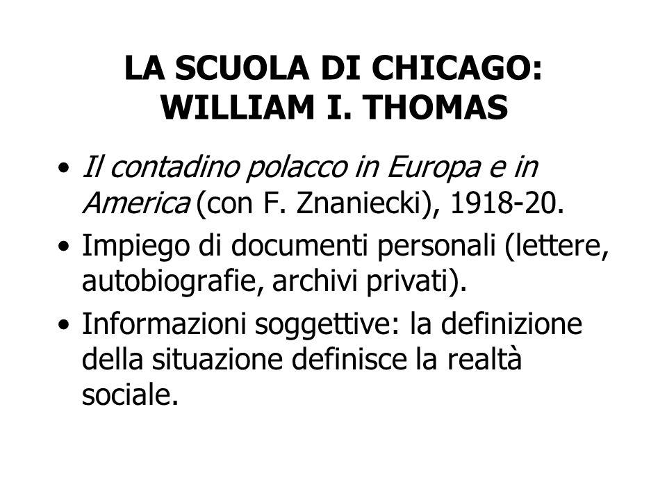 LA SCUOLA DI CHICAGO: WILLIAM I.THOMAS I valori sociali condivisi condizionano gli atteggiamenti.