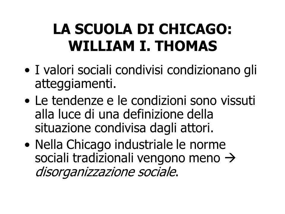 LA SCUOLA DI CHICAGO: WILLIAM I. THOMAS I valori sociali condivisi condizionano gli atteggiamenti. Le tendenze e le condizioni sono vissuti alla luce