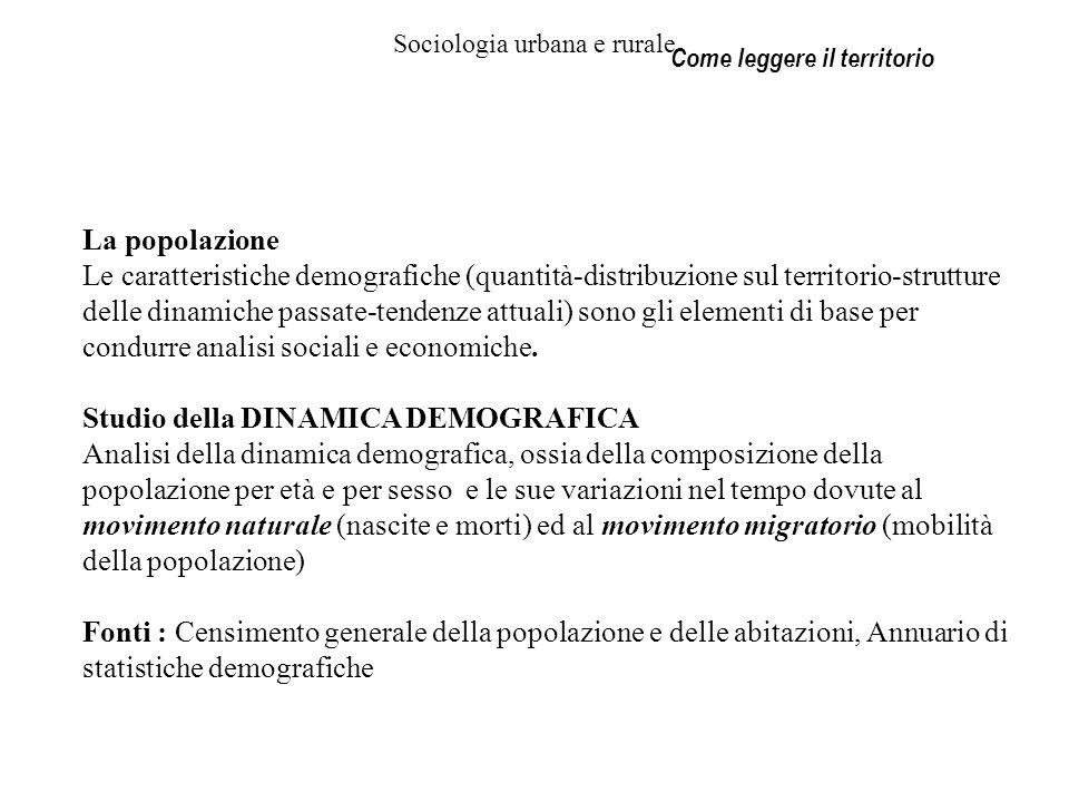Sociologia urbana e rurale Come leggere il territorio La popolazione Le caratteristiche demografiche (quantità-distribuzione sul territorio-strutture