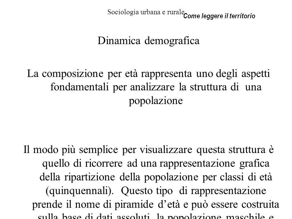 Sociologia urbana e rurale Dinamica demografica La composizione per età rappresenta uno degli aspetti fondamentali per analizzare la struttura di una