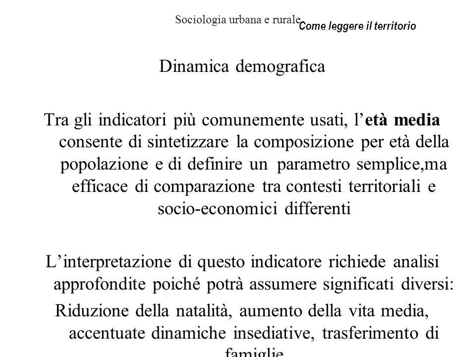 Sociologia urbana e rurale Dinamica demografica Tra gli indicatori più comunemente usati, letà media consente di sintetizzare la composizione per età