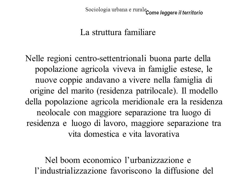 Sociologia urbana e rurale La struttura familiare Nelle regioni centro-settentrionali buona parte della popolazione agricola viveva in famiglie estese