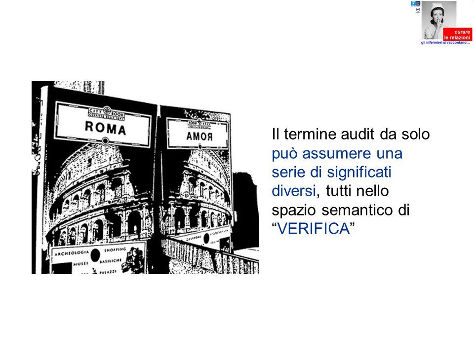 Il termine audit da solo può assumere una serie di significati diversi, tutti nello spazio semantico diVERIFICA