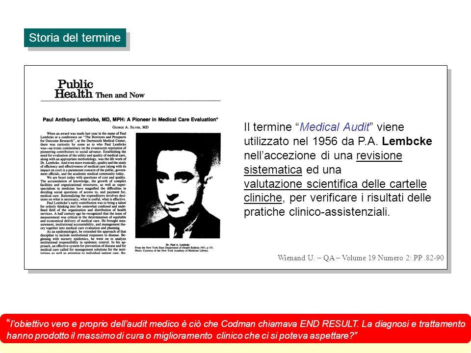 Il termine Medical Audit viene utilizzato nel 1956 da P.A.