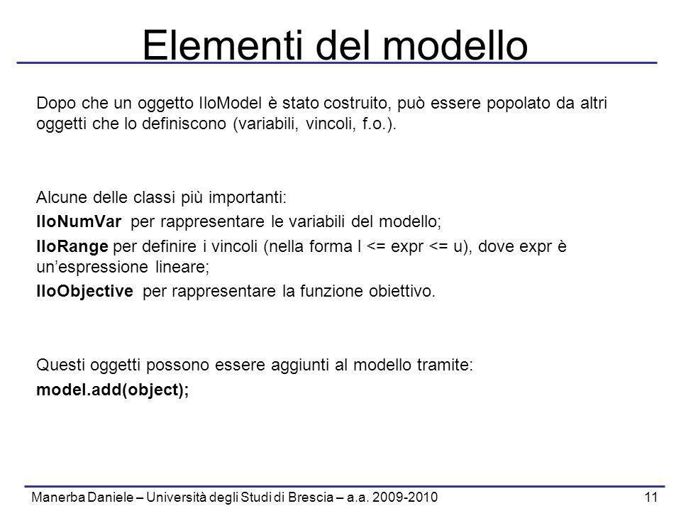 Manerba Daniele – Università degli Studi di Brescia – a.a. 2009-2010 11 Elementi del modello Dopo che un oggetto IloModel è stato costruito, può esser