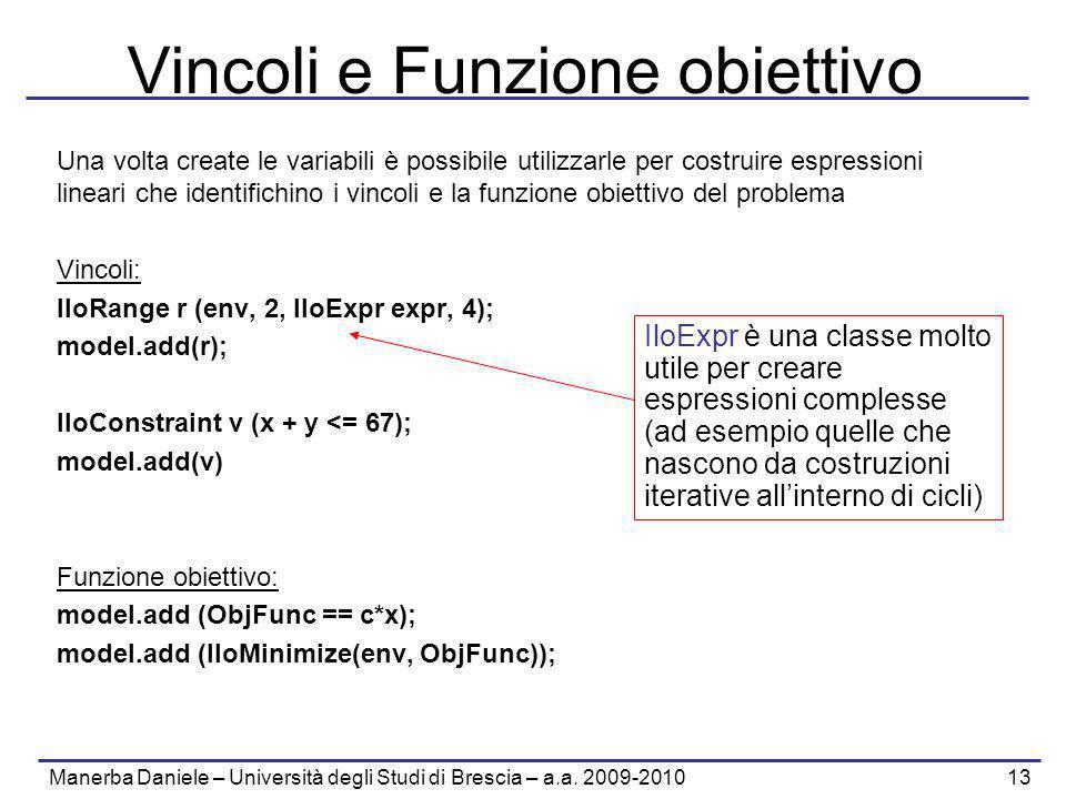 Manerba Daniele – Università degli Studi di Brescia – a.a. 2009-2010 13 Vincoli e Funzione obiettivo Una volta create le variabili è possibile utilizz
