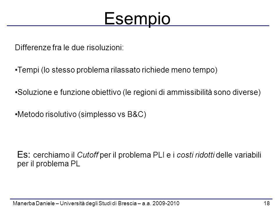 Manerba Daniele – Università degli Studi di Brescia – a.a. 2009-2010 18 Esempio Differenze fra le due risoluzioni: Tempi (lo stesso problema rilassato