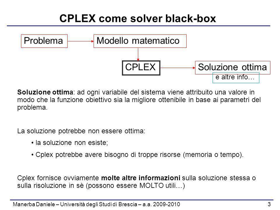Manerba Daniele – Università degli Studi di Brescia – a.a. 2009-2010 3 CPLEX come solver black-box CPLEX ProblemaModello matematico Soluzione ottima S