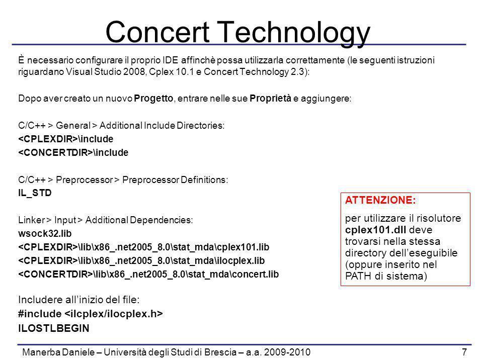 Manerba Daniele – Università degli Studi di Brescia – a.a. 2009-2010 7 Concert Technology È necessario configurare il proprio IDE affinchè possa utili