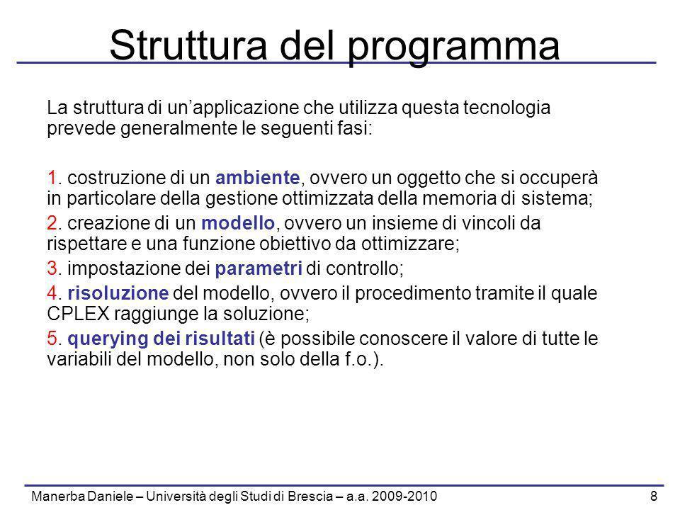 Manerba Daniele – Università degli Studi di Brescia – a.a. 2009-2010 8 Struttura del programma La struttura di unapplicazione che utilizza questa tecn