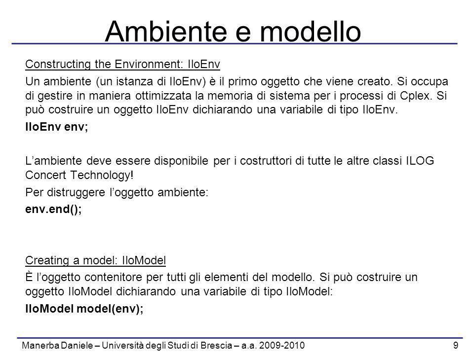 Manerba Daniele – Università degli Studi di Brescia – a.a. 2009-2010 9 Ambiente e modello Constructing the Environment: IloEnv Un ambiente (un istanza
