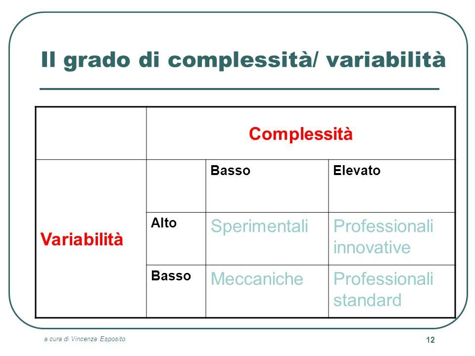 a cura di Vincenza Esposito 12 Il grado di complessità/ variabilità Complessità Variabilità BassoElevato Alto SperimentaliProfessionali innovative Bas