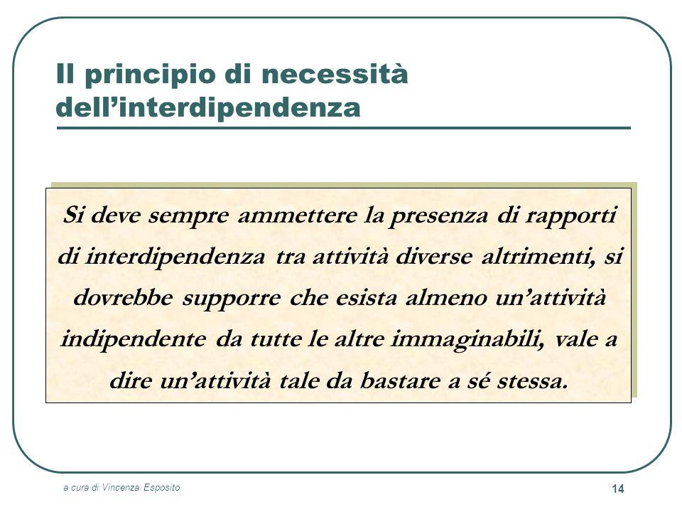 a cura di Vincenza Esposito 14 Il principio di necessità dellinterdipendenza Si deve sempre ammettere la presenza di rapporti di interdipendenza tra a