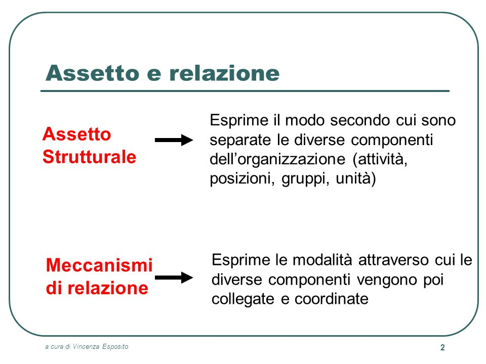 a cura di Vincenza Esposito 33 La sociostruttura Le componenti della sociostruttura preposte allesecuzione delle attività caratteristiche dellorganizzazione 3.Meccanismi organizzativi applicati per coordinarle 1.