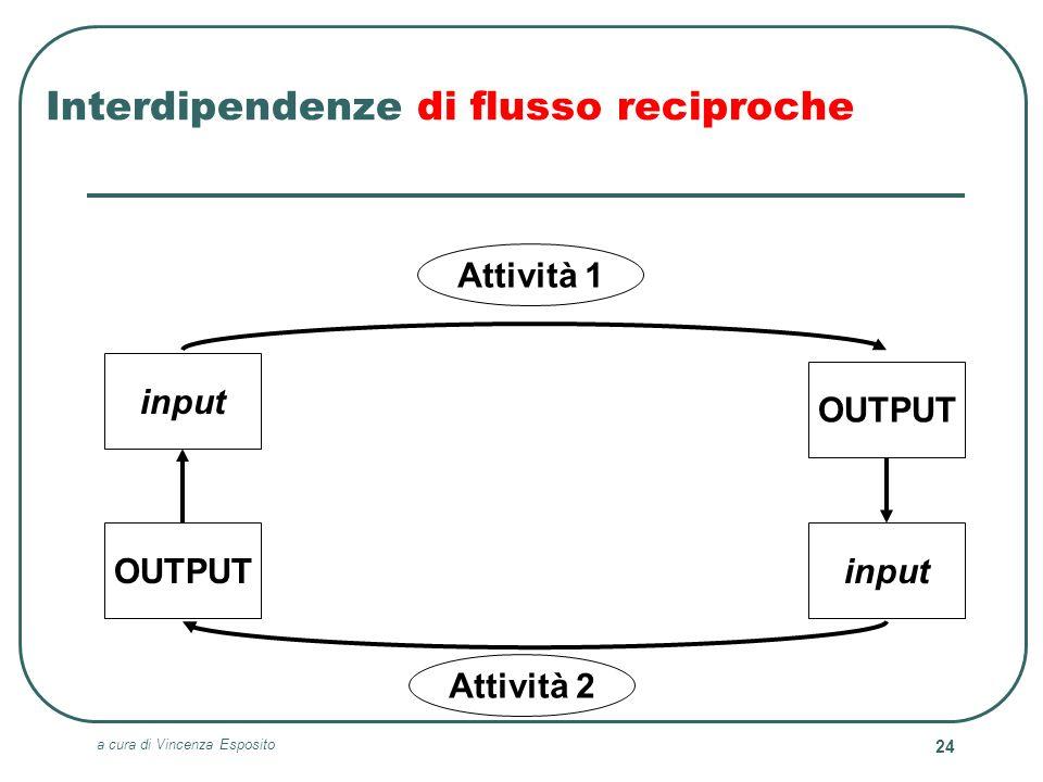a cura di Vincenza Esposito 24 Interdipendenze di flusso reciproche Attività 1 Attività 2 input OUTPUT input