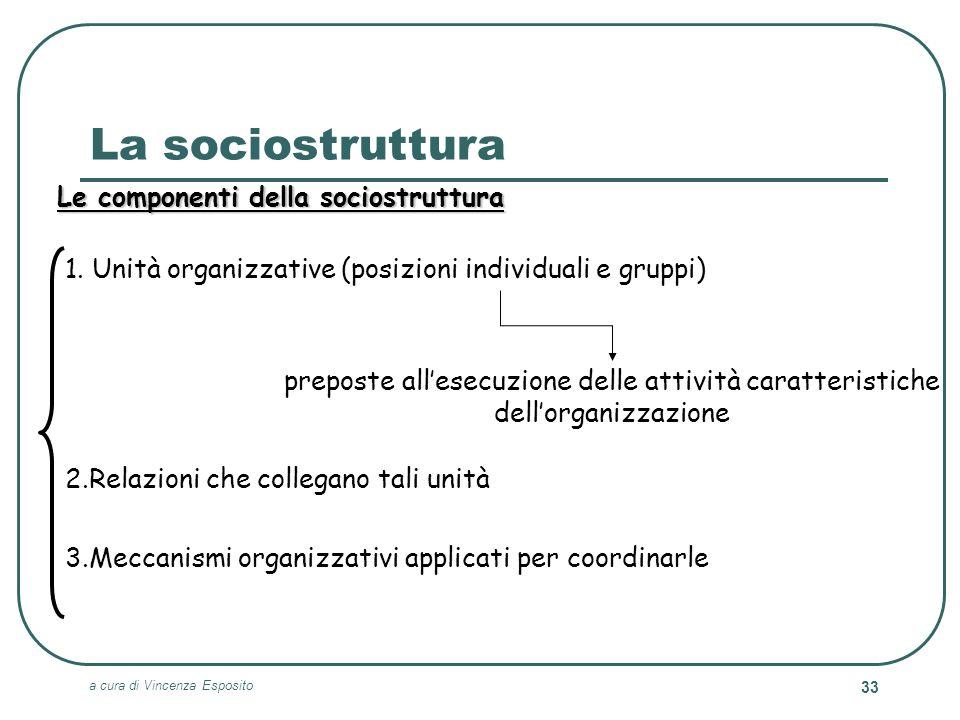 a cura di Vincenza Esposito 33 La sociostruttura Le componenti della sociostruttura preposte allesecuzione delle attività caratteristiche dellorganizz
