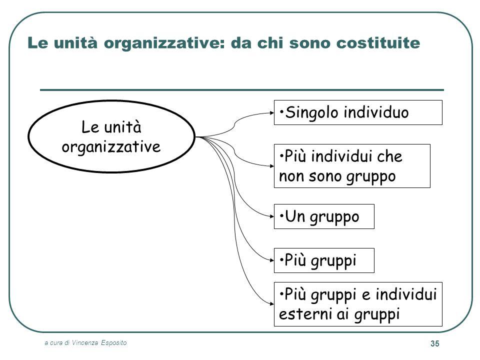 a cura di Vincenza Esposito 35 Le unità organizzative: da chi sono costituite Le unità organizzative Più gruppi e individui esterni ai gruppi Singolo