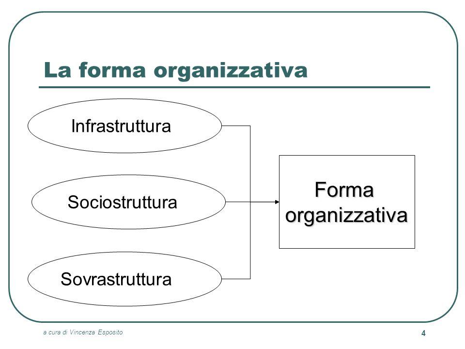 a cura di Vincenza Esposito 5 Il problema dellisomorfismo La particolare combinazione di elementi appartenenti alle tre dimensioni dellinfrastruttura, della sociostruttura e della sovrastruttura rende ciascuna organizzazione unica Non esiste ununica forma organizzativa, vale a dire non si riscontra il fenomeno dellISOMORFISMO